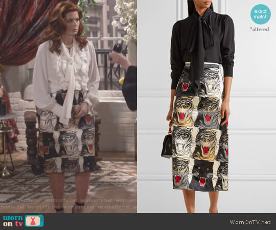 Printed silk-charmeuse midi skirt by Gucci worn by Grace Adler (Debra Messing) on Will & Grace