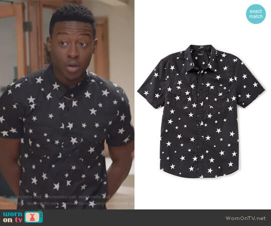 Short-Sleeve Western Star Print Shirt by Guess worn by Courtney Rose (Brandon Micheal Hall) on The Mayor