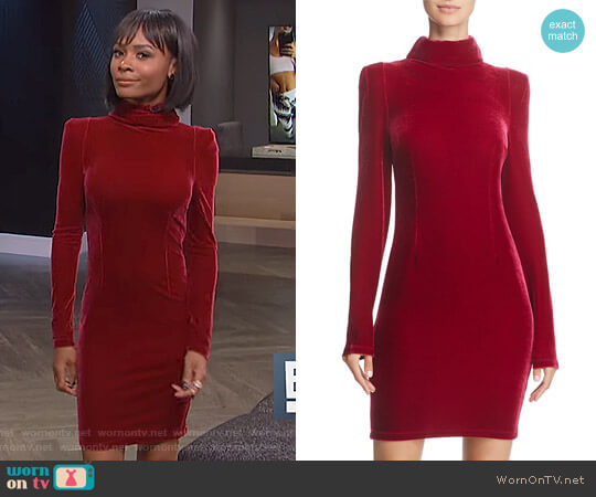 'Olga' Turtleneck Velvet Dress by Guess worn by Zuri Hall on E! News