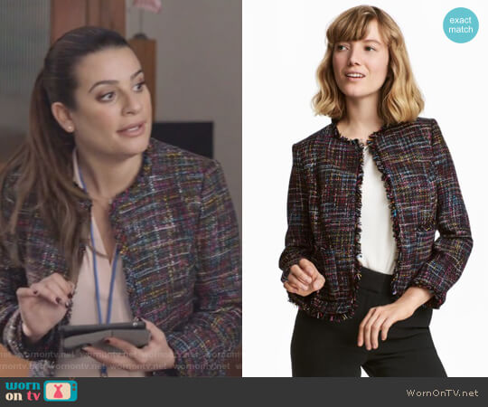 Short Jacket by H&M worn by Lea Michele on The Mayor