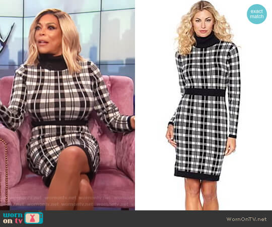 Plaid Turtleneck Sweater Dress by Wendy Williams HSN Collection worn by Wendy Williams on The Wendy Williams Show