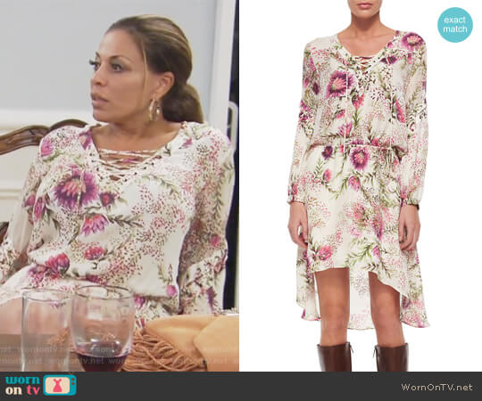 Long-Sleeve Lace-Up Floral-Print Dress by Haute Hippie worn by Dolores Catania  on The Real Housewives of New Jersey