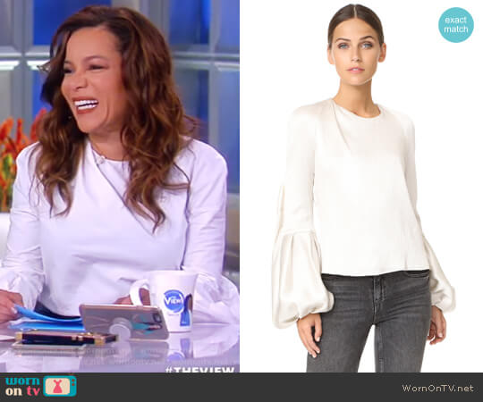 Sage Ruffle Top by Hellessy worn by Sunny Hostin on The View