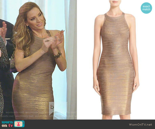 'Renata' Woodgrain Metallic Foil Bandage Dress by Herve Leger worn by Cary Deuber on The Real Housewives of Dallas