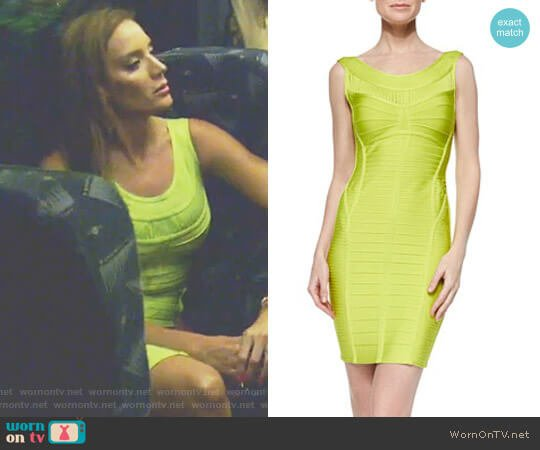 Ysabel Slit-Fringe Bandage Dress by Herve Leger worn by Cary Deuber  on The Real Housewives of Dallas