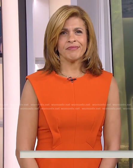 Hoda's orange paneled dress on Today