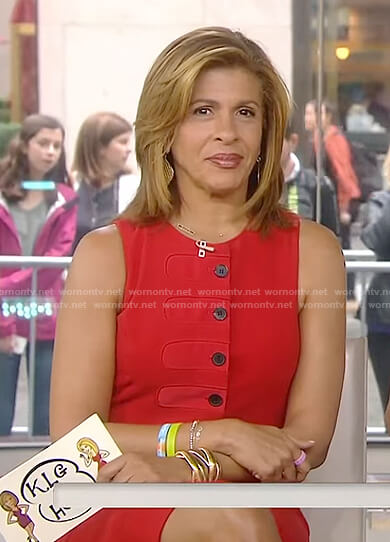 Hoda's red button front sleeveless dress on Today