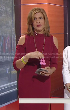 Hoda's red cold-shoulder mock neck dress on Today