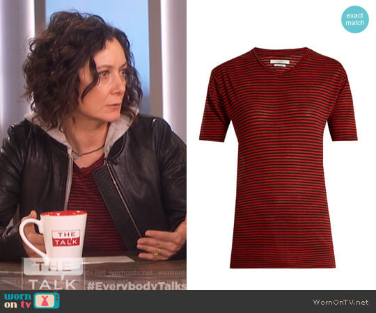 Andreia striped linen-blend T-shirt by Isabel Marant Etoile worn by Sara Gilbert  on The Talk