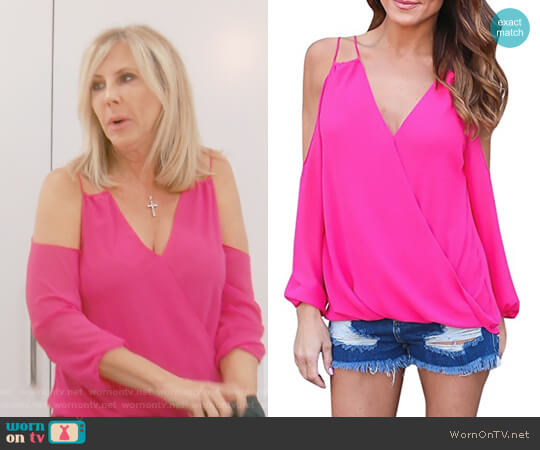 Long Cold Shoulder Wrap V Neck Top by Imily Bela worn by Vicki Gunvalson on The Real Housewives of Orange County