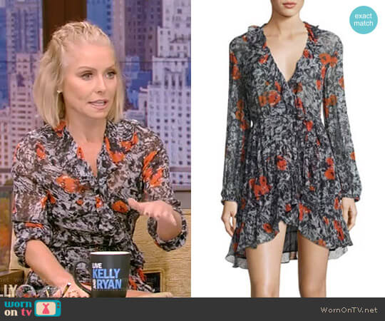 'Villia' Printed Wrap Mini Dress by Iro worn by Kelly Ripa on Live with Kelly & Ryan