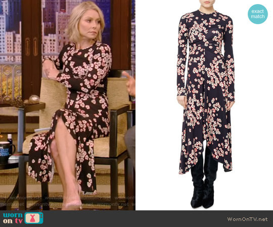 'Diana' Cherry Blossom Jersey Midi Dress by Isabel Marant worn by Kelly Ripa  on Live with Kelly & Ryan