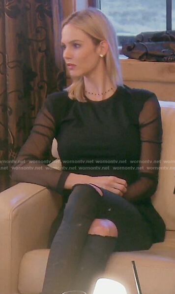 Meghan's black long sleeve mesh top on The Real Housewives of OC