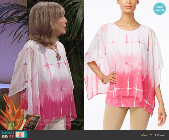 JM Collection Printed Poncho Blouse worn by Dina Mergeron (Marla Adams) on The Young & the Restless