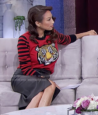 Jeannie's red tiger sweater on The Real