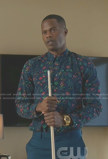 Jeff's navy tropical print shirt on Dynasty