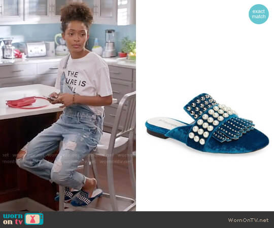 Jeffrey Campbell Ravis Embellished Loafer Mule worn by Zoey Johnson (Yara Shahidi) on Blackish