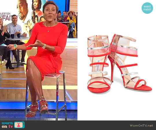 Maitai suede and Perspex Sandals by Jimmy Choo worn by Robin Roberts on Good Morning America