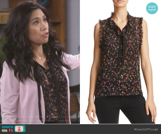 Anathalia Floral Print Silk Top by Joie worn by Liza Lapira on 9JKL
