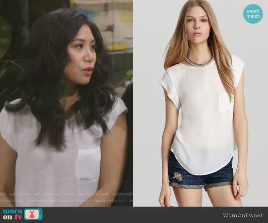 Rancher Short Sleeve Top by Joie worn by Liza Lapira on 9JKL