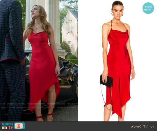 Juan Carlos Obando Annex Halter Dress worn by Fallon Carrington (Elizabeth Gillies) on Dynasty