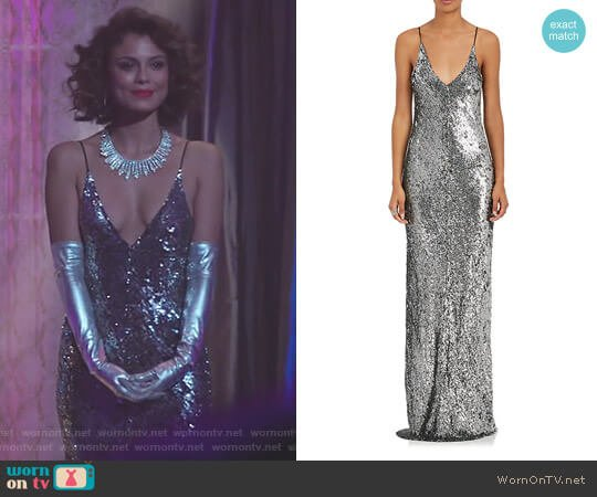 Metallic Sequined Slipdress by Juan Carlos Obando worn by Cristal Flores (Nathalie Kelley) on Dynasty
