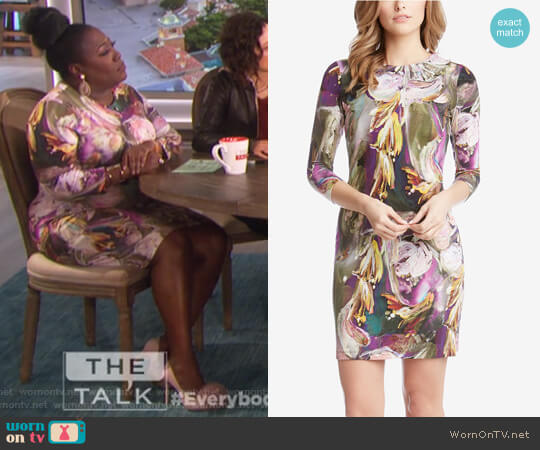 Printed Sheath Dress by Karen Kane worn by Sheryl Underwood on The Talk