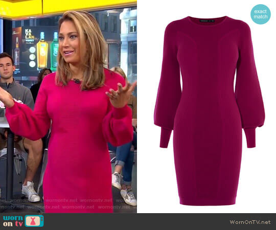 Bell Sleeve Knit Dress by Karen Millen worn by Ginger Zee  on Good Morning America