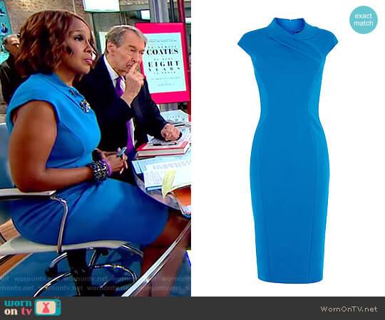 Blue Pencil Dress by Karen Millen worn by Gayle King on CBS This Morning