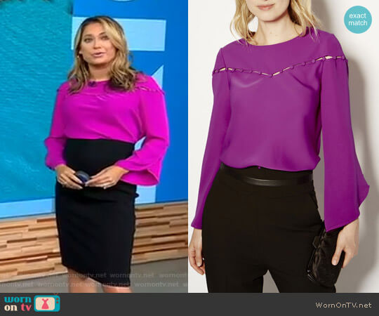 Button Detail Blouse by Karen Millen worn by Ginger Zee on Good Morning America