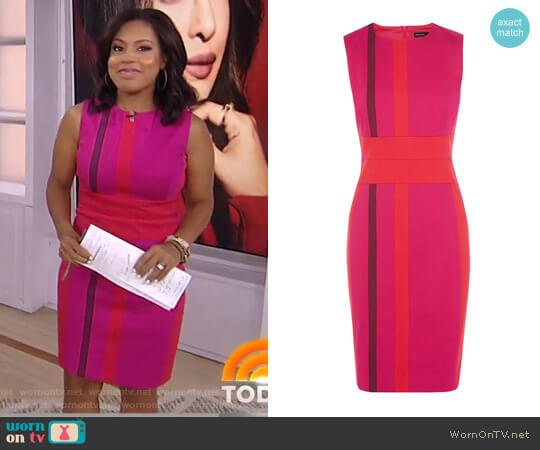 Colourful Stripe Panelled Dress by Karen Millen worn by Sheinelle Jones on Today