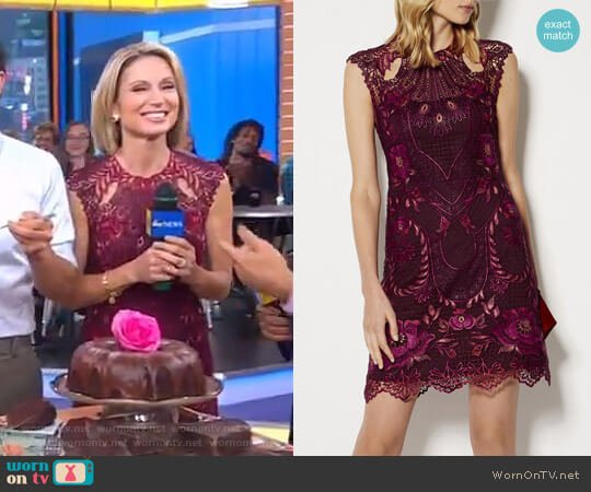 Embroidered Mini Dress by Karen Millen worn by Amy Robach (Amy Robach) on Good Morning America