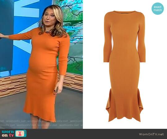 Frill Hem Knitted Midi Dress by Karen Millen worn by Ginger Zee on Good Morning America