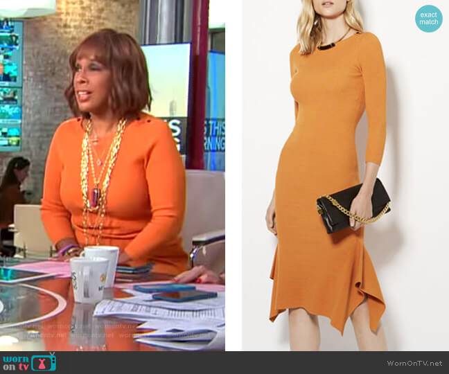 Frill Hem Knitted Midi Dress by Karen Millen worn by Gayle King (Gayle King) on CBS This Morning