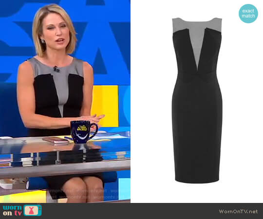 Plunge Contrast Pencil Dress by  Karen Millen worn by Amy Robach  on Good Morning America