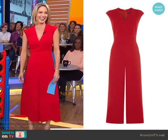 Tailored Culotte Jumpsuit by Karen Millen worn by Amy Robach  on Good Morning America