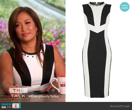 Contrast Panel Dress by Karen Millen worn by Carrie Inaba on The Talk