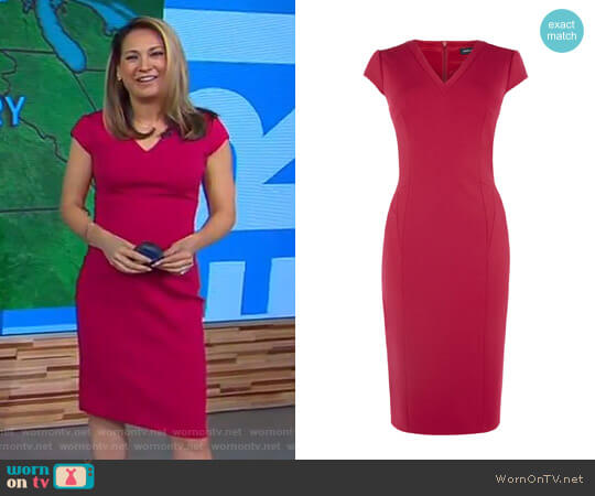 0c715a84888 V-Neck Pencil Dress by Karen Millen worn by Ginger Zee (Ginger Zee)