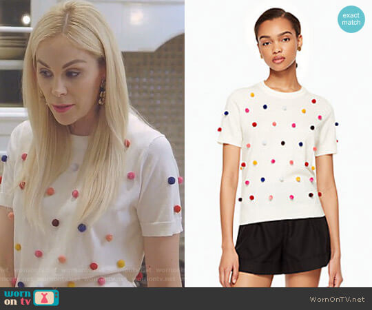 Pom Sweater by Kate Spade worn by Kameron Westcott on The Real Housewives of Dallas