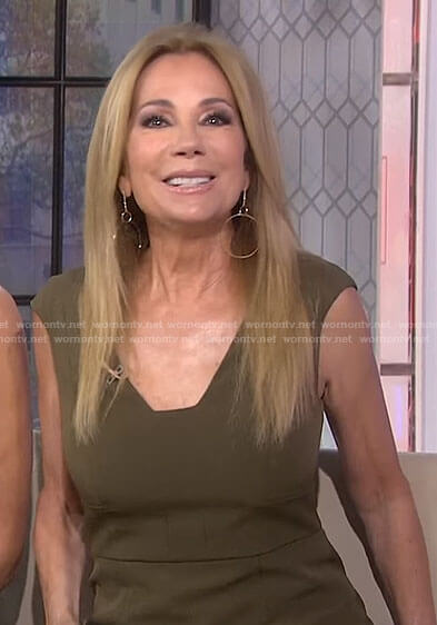 Kathie's khaki v-neck dress on Today