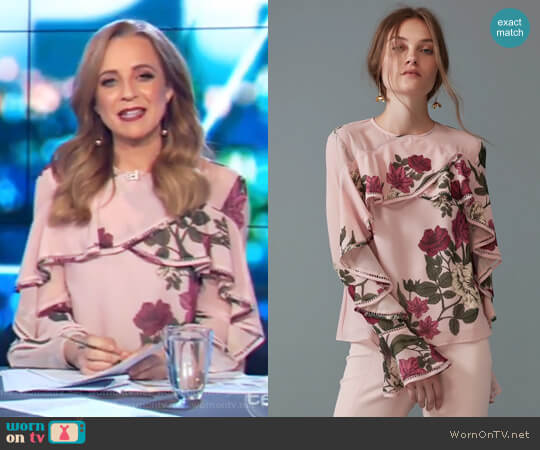Night Lights Long Sleeve Top by Keepsake worn by Carrie Bickmore  on The Project