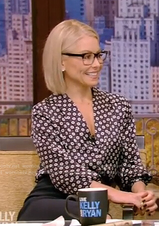 Kelly's black printed silk blouse on Live with Kelly and Ryan