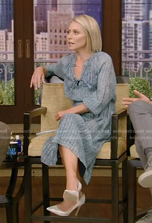 Kelly's blue floral chiffon dress on Live with Kelly and Ryan