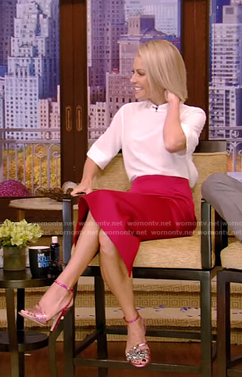 Kelly's pink embellished sandal with studs on Live with Kelly and Ryan