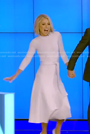 Kelly's white tie waist dress on Live with Kelly and Ryan