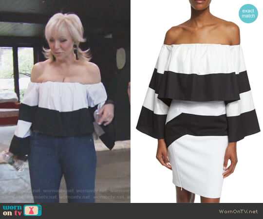 Off-The-Shoulder Striped Crop Top by Kendall + Kylie worn by Margaret Josephs  on The Real Housewives of New Jersey