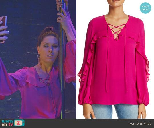Lace-Up Ruffle Trim Silk Blouse by Kobi Halperin worn by Briga Heelan on Great News