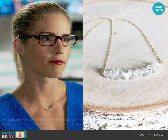 KristynReneeJewelry Herkimer Diamond Necklace worn by Felicity Smoak (Emily Bett Rickards) on Arrow