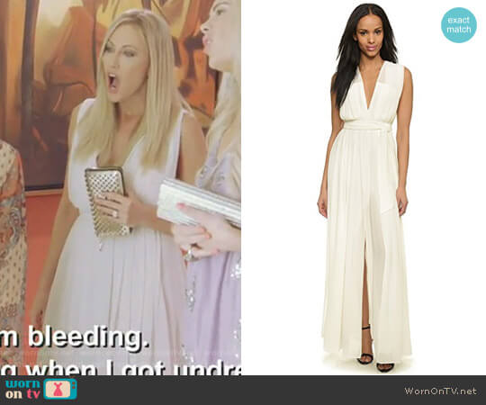 Long Deep V Pleated Dress by L'Agence worn by Stephanie Hollman on The Real Housewives of Dallas