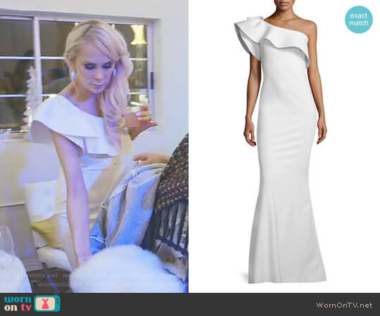 'Elisse' One-Shoulder Ruffle Mermaid Gown by La Petite Robe di Chiara Boni worn by Kameron Westcott on The Real Housewives of Dallas